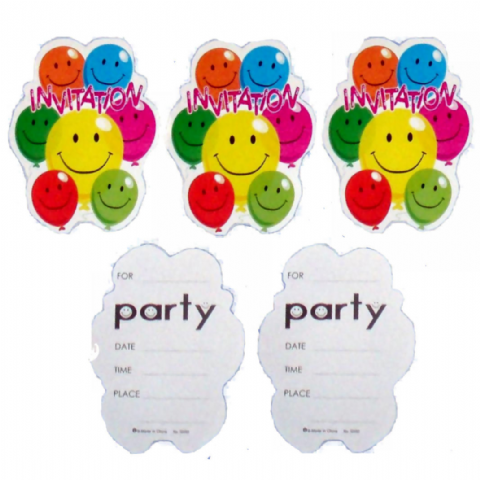 100 x Party Invitations With Envelopes (20 x 5 Packs) - Smiley Face Balloons